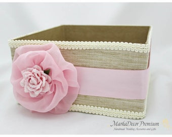 Program Box / Amenities Box /Bubble Favors Box / Custom Made Wedding Box / Gift Holder in Champagne, Ivory and Light Pink