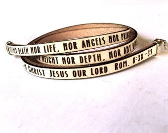 Neither death nor life... Romans 8:38-39  Daily Reminder Leather wrap bracelet
