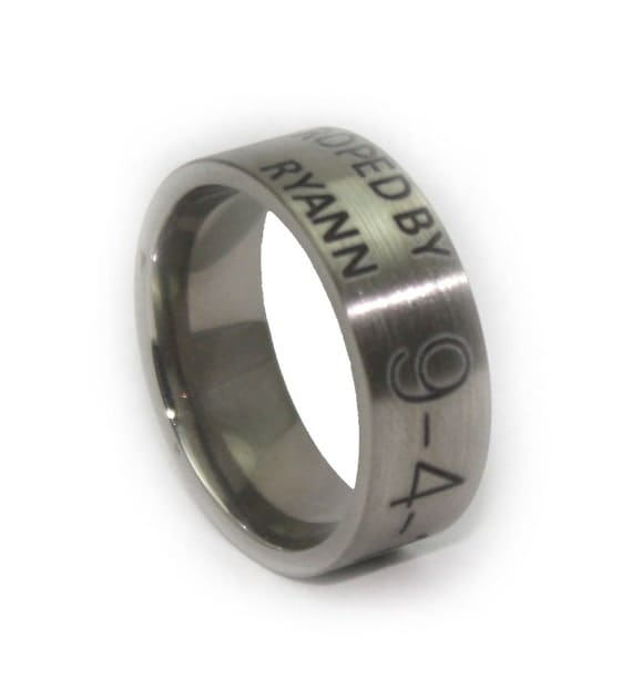 custom engraved wedding ring duck band by rustictendencies
