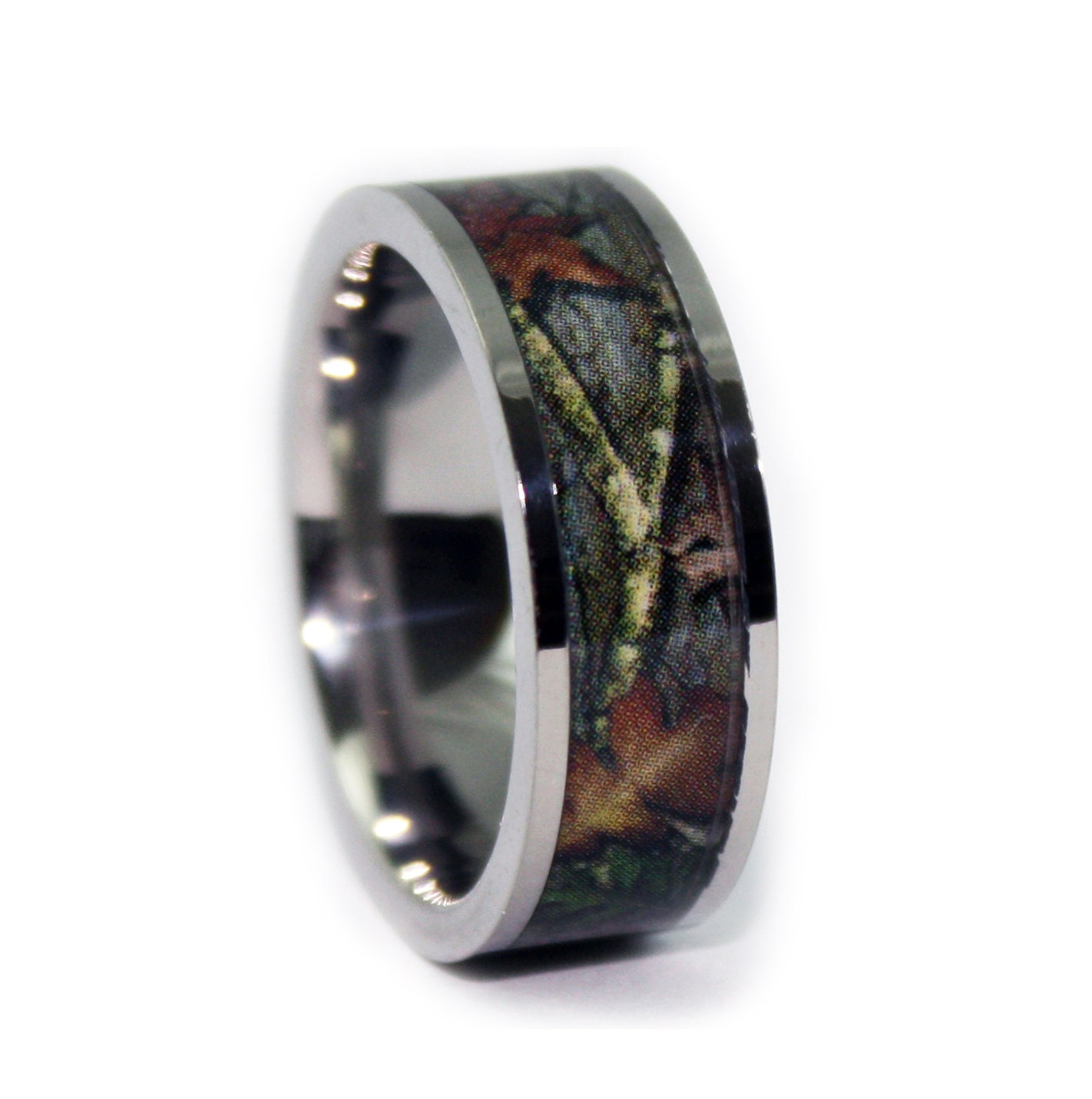 Camo wedding rings by one camo flat titanium mens wedding for Camoflauge wedding rings