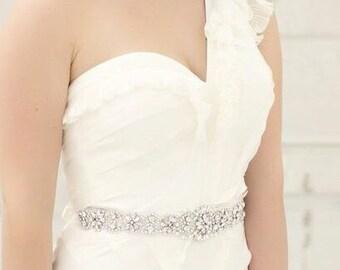 """15"""" Crystal Wedding Sash, Wedding Sash, Bridal Belt, Bridal Sash, Crystal Sash, Crystal Belt, Beaded Sash, Rhinestone Sash, Sash - LONDON"""