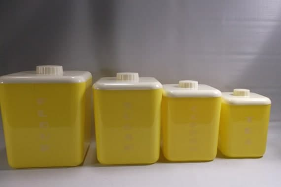 kitchen canisters from the 1950 39 s yellow with white by retroricks