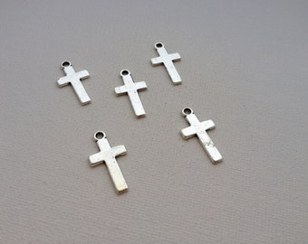 5 - Antique Silver Cross Charms