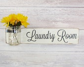 Laundry Room Sign With Mason Jar- Ivory  With Black Hand Painted Lettering- French Chic- Shabby- Country Decor