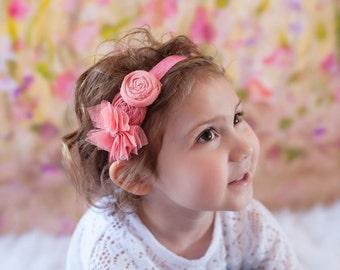 Peach Salmon Headband for Girls Babies ,Tulle Flower Rosettes headband ,Spring Toddlers Headband