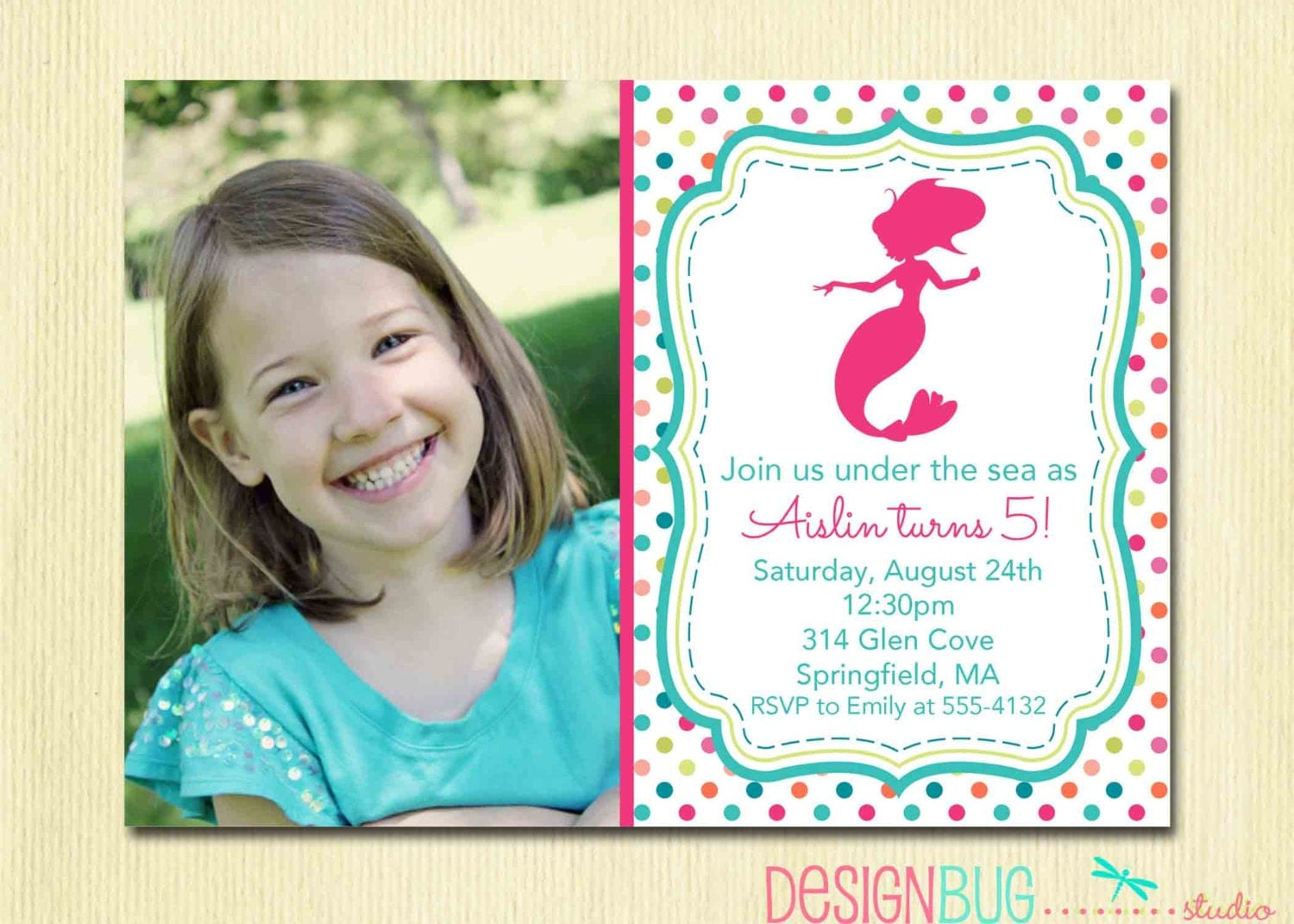 Mermaid Birthday Invitation Year Old ANY Age - Birthday invitation message for 2 year old