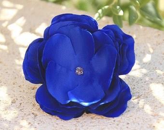 Indigo blue hairflower, hairpin, corsage, made of honor hairflower, flowergirl hairflower