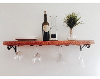 Hand Carved Cedar Wood Wine Shelf