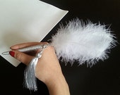 Bride pen,Bird Feathered Pen, White Wedding Pen, Wedding Accessories