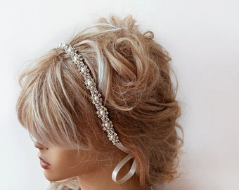 Wedding headband,  Bridal Headband,  Bridal Hair Accessory, Rhinestone and Pearl  headband, Wedding hair Accessory