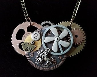 Steampunk Airplane, Propeller, Bird, and Gears Flight Themed Necklace