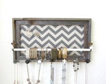 Jewelry Organizer Jewelry Holder Barnwood Frame Chevron Distressed Bedroom Decor- 9 Vintage knobs