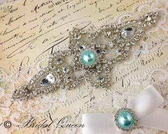 Wedding garter set,  Bridal Garter set, Heirloom Rhinestone and Crystal garters, Something blue