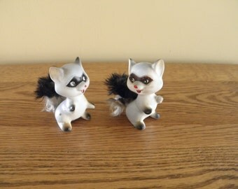 Enesco Raccoon Shakers with Furry Tails