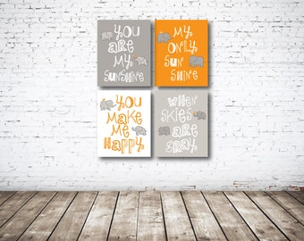 You Are My Sunshine CANVAS Set of Four-Orange-White-Grey OR Choose Color-8x10-11x14-12x18-16x20-18x24-20x30-24x36-Nursery-Kids Room