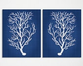 Blue Coral Wall Art, Navy Blue Coral Print, Navy White Wall Art, Navy Blue Home Decor, Coral Print, Set of Two Prints, Custom Colors - BeachHouseGallery