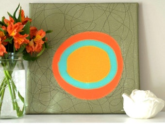 ABSTRACT EXPRESSIONIST SKETCH Orange, Teal and Yellow on Gray & Brown