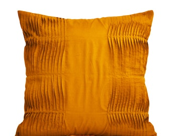 Decorative Mustard pillow - Mustard Cotton Throw pillow cover - Accent pillow -16X16 - Gift pillow - Mustard cushion- Pleated pillows
