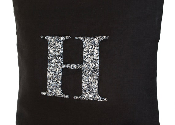 Grey Sequin Throw Pillow : Customized Grey Sequin Monogram Decorative Pillow Sequin