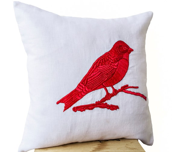 Items similar to Decorative Throw Pillows Blue, Red, Green, Black Bird Embroidered on White ...