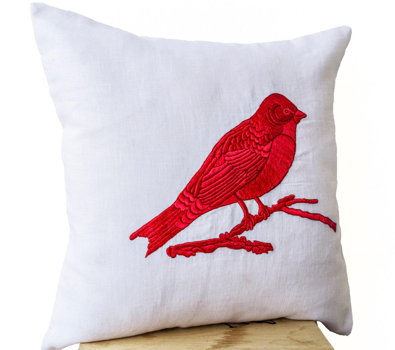 Blue Red Throw Pillow : Decorative Throw Pillows Blue Red Green Black Bird