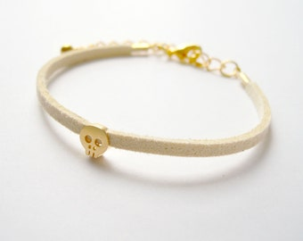 Beige Suede Bracelet with Gold Skull charm
