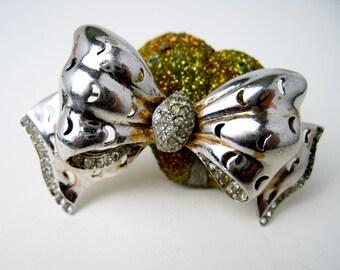 "3"" Pin 1940s Reja Sterling Silver Art Deco Bow Brooch, Original Rhinestones, NY USA."