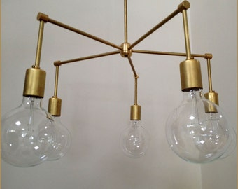 "Modern brass ""Crown"" chandelier - 5 Bulb Number 4 Made In LA"
