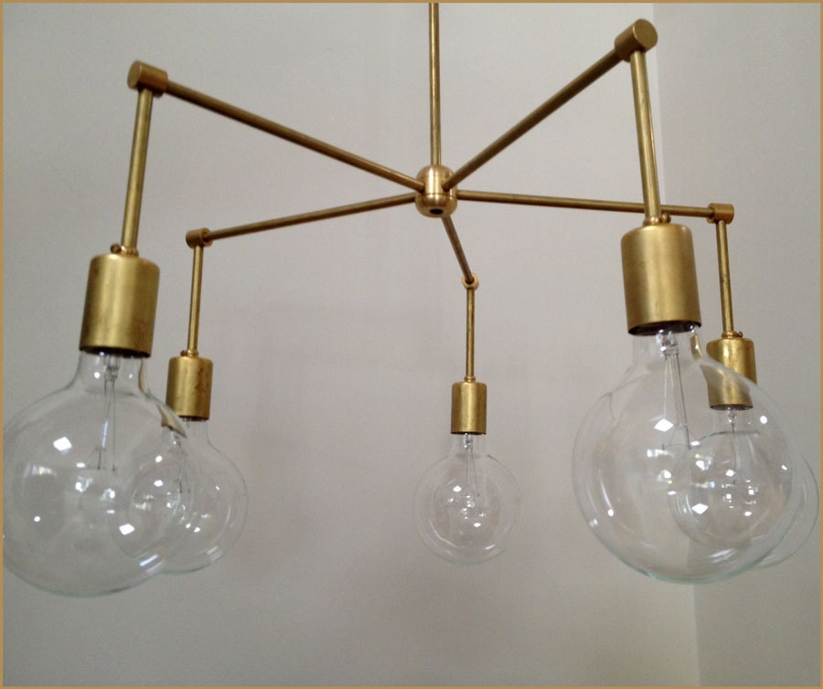 Modern Brass Crown Chandelier 5 Bulb Number 4