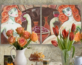 "Portrait Painting of two nude women sisters girls Art Deco Still Life KSAVERA ""Cecilia"" diptych Green mid century modern girlfriend cubist"