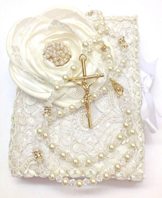 Ceremonia De Matrimonio Biblia Del Ministro : Lace wedding bible and rosary set libro y