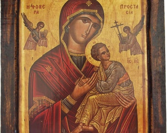 Virgin Mary  - Formidable Protection - Our Lady of Perpetual Help - Orthodox icon on wood handmade