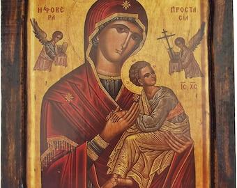 VIRGIN MARY - Formidable Protection - Orthodox icon on wood handmade