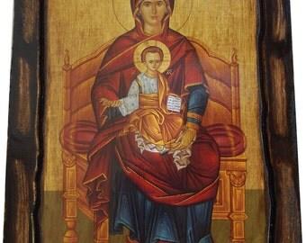 VIRGIN MARY - Enthroned - Orthodox icon on wood handmade (22.5cm x 17cm)