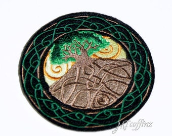 Earth Day Tree of Life Celtic Knot Wreath Iron On Patch Green Brown MTCoffinz