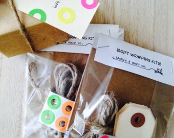 Gift Wrapping Kit // DIY kit // kit of tags, clothespins, twine, donut stickers