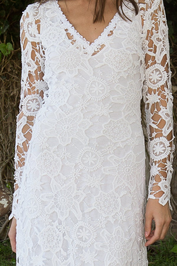 Bohemian Wedding Dress Crochet Lace Long By Dreamersandlovers