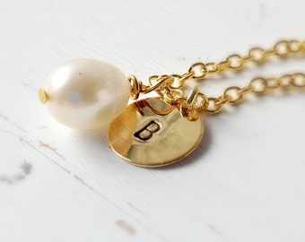 Initial necklace, Pearl initial necklace, Gold Jewelry, freshwater Pearl necklace, personalized charm necklace, UK Shop, Christmas Gifts