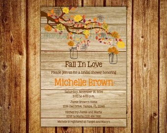 Wood Grain Fall in Love Bridal Shower Invitation- Digital File- DIY Printable --- Wedding, Baby Shower, Birthday