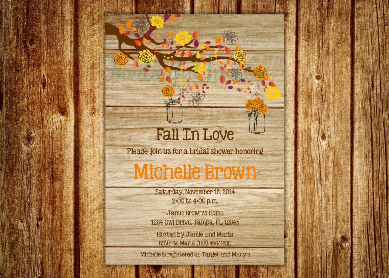 Wood Grain Fall In Love Bridal Shower Invitation Digital