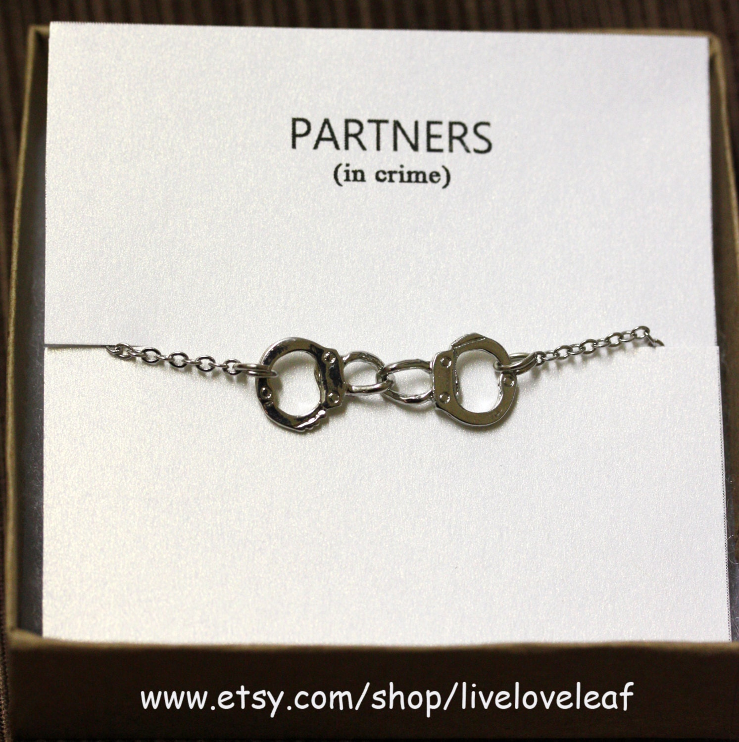 best friends partners in crime bracelet silver handcuffs