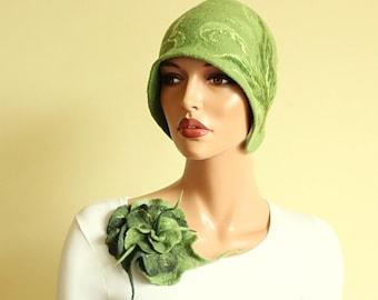 Green  brooch Felted brooch Light green brooch Fancy flower Green flower  Felt brooch