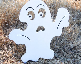 Scary Ghost Halloween Yard Decoration Engraved Wood Sign