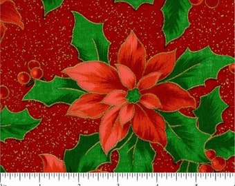 Christmas Poinsettia - Red w Metalic