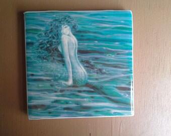 Alluring Mermaid  ceramic tile coasters