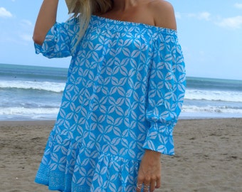Ladies Off Shoulder Beach Dress - The Sabrina Dress in Aqua & White with Frilled Hemline