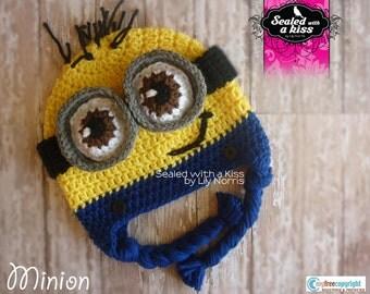Yellow monster hat, Yellow goggled monster, crochet hat.