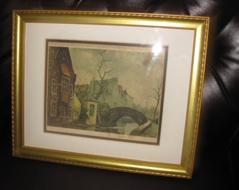 "VINTAGE FRAMED PRINT-Bridge in Bruge 12 1/2"" x 15 1/2"""
