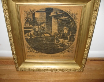 "SANTA CLAUS Harpers Weekly 1870 In Antique Shadow Box Gold Color Frame Print On Parchment Like Paper 19"" x 22"""