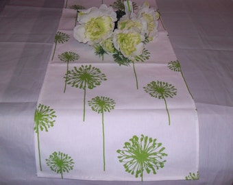 Handmade 12W x 34L Table  Runner in White/Chartreuse Dandelion, Home Decor, Chic, Ready to Ship